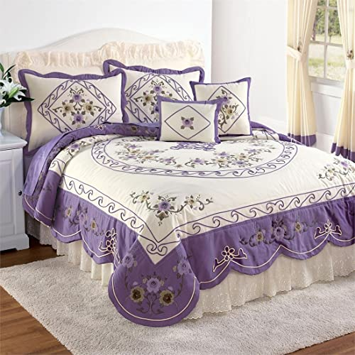 Brylanehome Ava Oversized Embroidered Cotton Quilt (Purple,King)