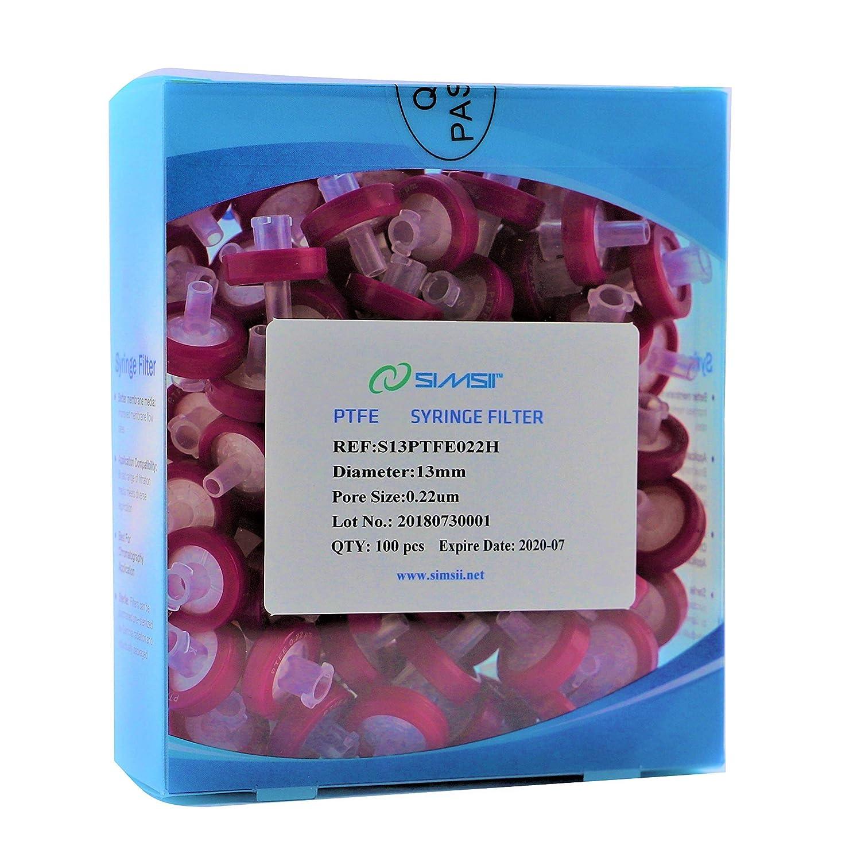 Simsii Syringe Filter, Hydrophobic PTFE Membrane Disc, Diameter 13 mm, Micron Pore Size 0.22 μm, 100/pack