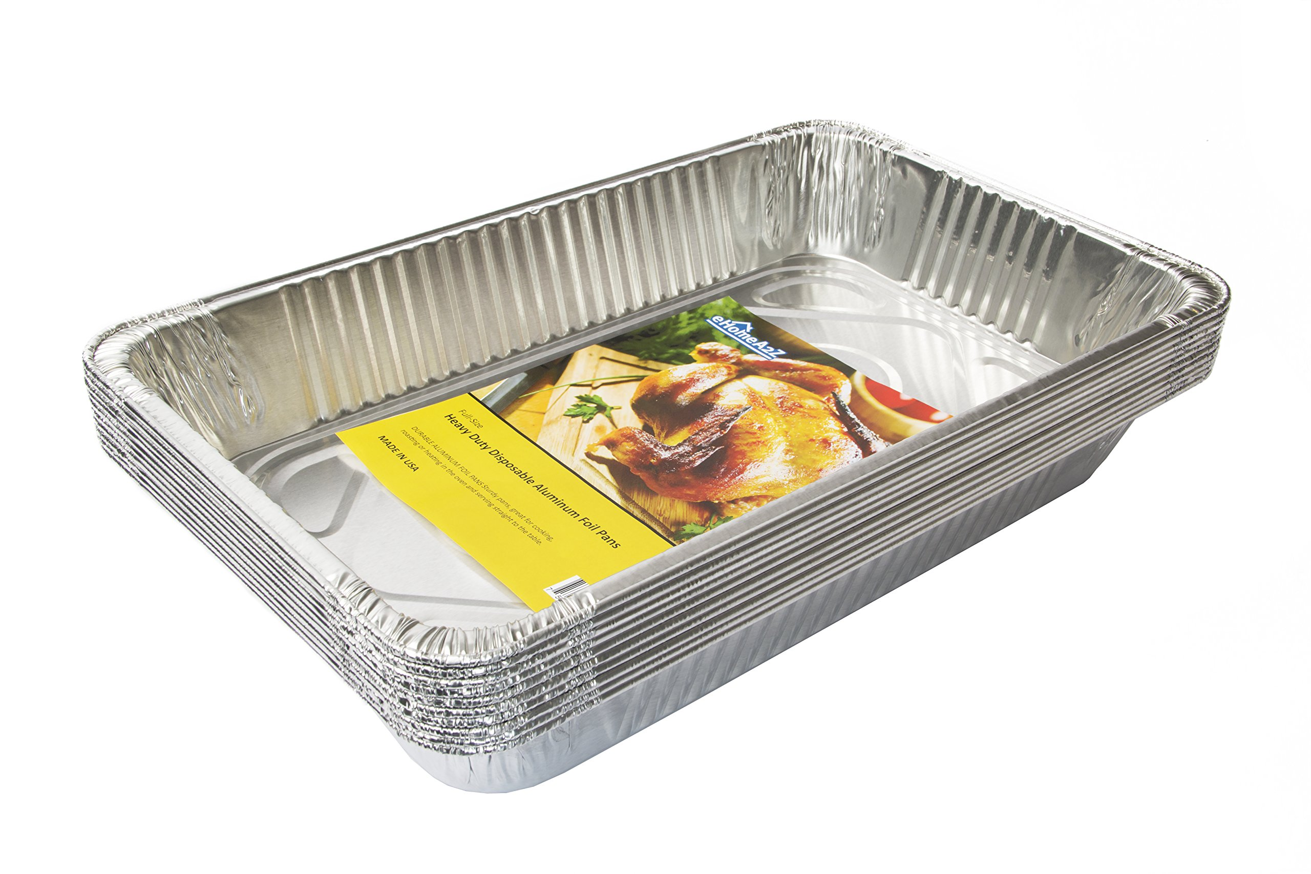 eHomeA2Z Aluminum Pans Full Size Disposable - 21 x 13 x 3 (10, Full-Size) (10)