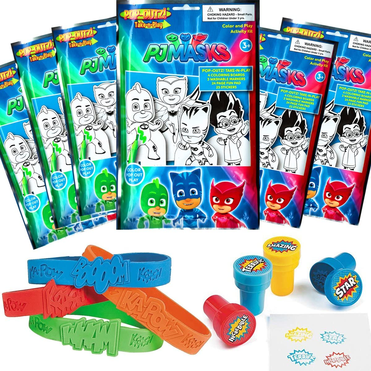 Crayons Coloring Books PJ Masks Party Favors Pack ~ Bundle of 12 PJ Masks Play Packs Filled with Stickers PJ Masks Party Supplies