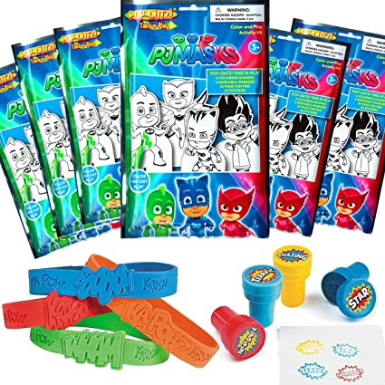 PJ Masks Party Favor Set - 6 Take & Play Coloring Play Packs, 12 Superhero