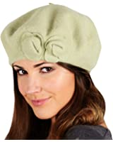 Ladies Pippa Wool Beret Hat With 2 Roses Winter Accessory Peach Avocado Stone