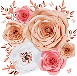 Paper Flowers Wall Decor, Large 3D Flower Wall Backdrop with Pink Butterfly for Girl Room Decor, Baby Nursery Shower, Wedding Decorations (10 inch Pink, 16 Pack)