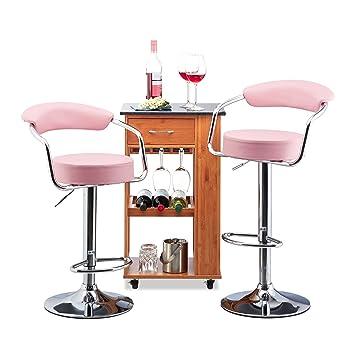 Relaxdays Barhocker 2er Set Höhenverstellbar, Drehbar Mit Lehne,  Kunstleder, Rosa, 106 X