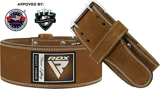 Rdx Weight Lifting Belt For Gym Powerlifting Training Ipl And Uspa Approved 4 Inch Leather Double Prong Belt For Deadlifts Bodybuilding Weightlifting Strength Training Back Support Multi Way Bekleidung