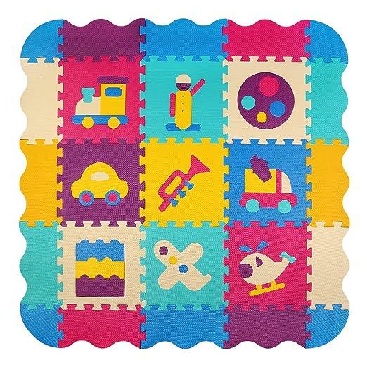 meiqicool niños Puzzle Play Mat Colorido Suave no tóxico Jigsaw Espuma baldosas de Piso y Juguetes (47