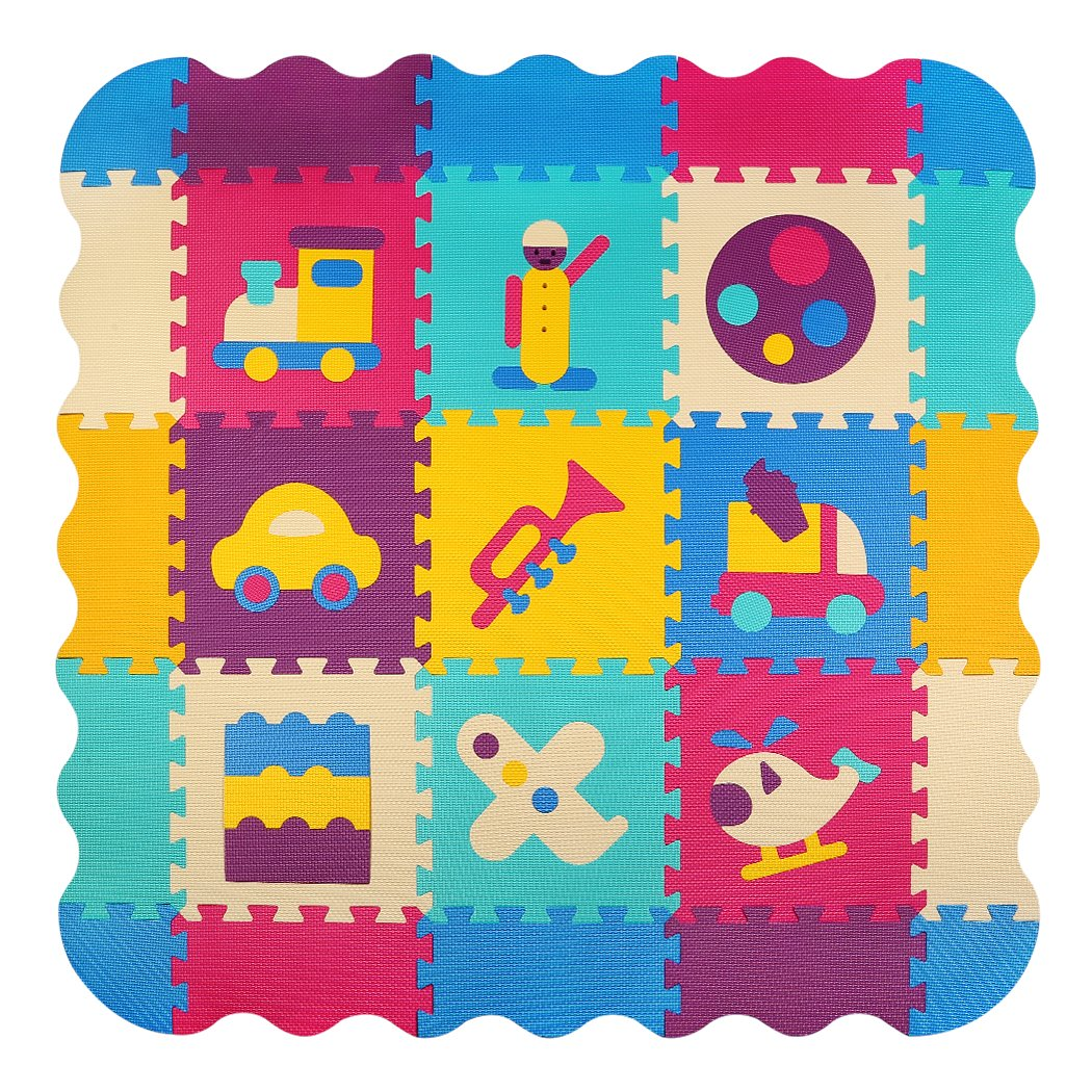 Baby Play Mat with Fence | meiqicool Thick (0.4'') Interlocking Foam Floor Tiles with 16 Patterns | Crawling Mat for Playroom&Nursery Multicoloured Color for Infants Toddlers & Kids P024B