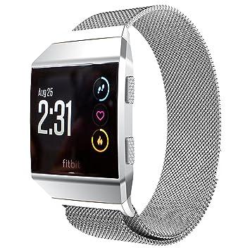 Fitbit Ionic correa banda de repuesto, PEMOTech Milanese Loop pulsera de acero inoxidable correa de