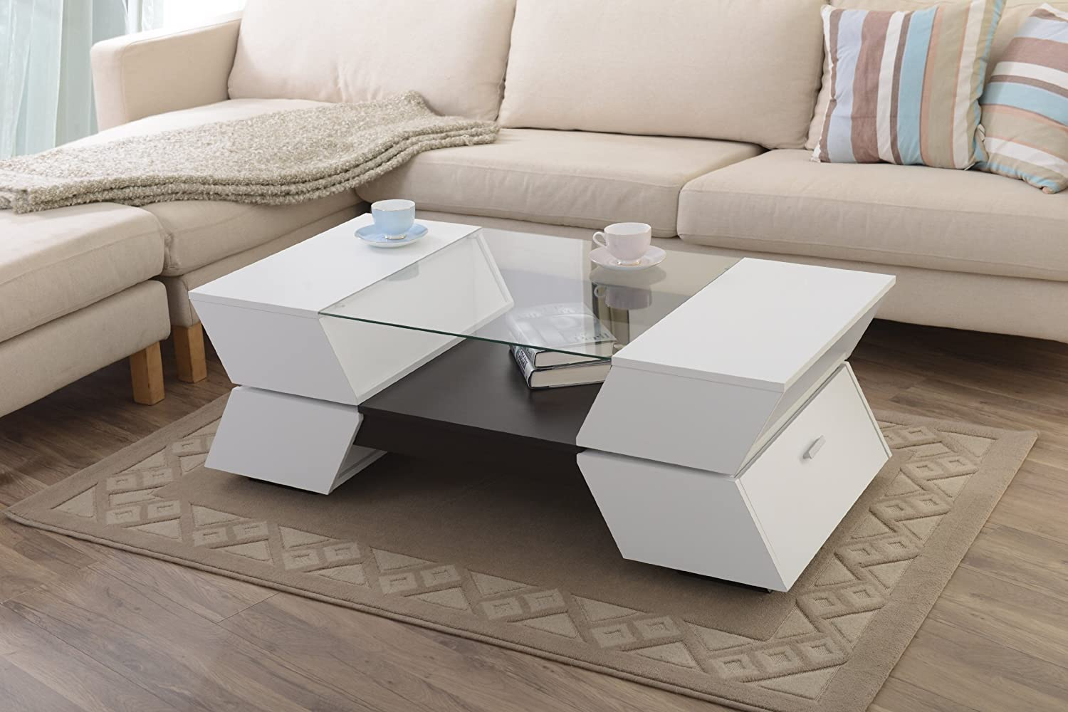 White glass coffee table - Furniture Of America Enitial Lab Ariadne 4 Compartment Coffee Table With Glass Insert White And Walnut Finish Amazon Ca Home Kitchen
