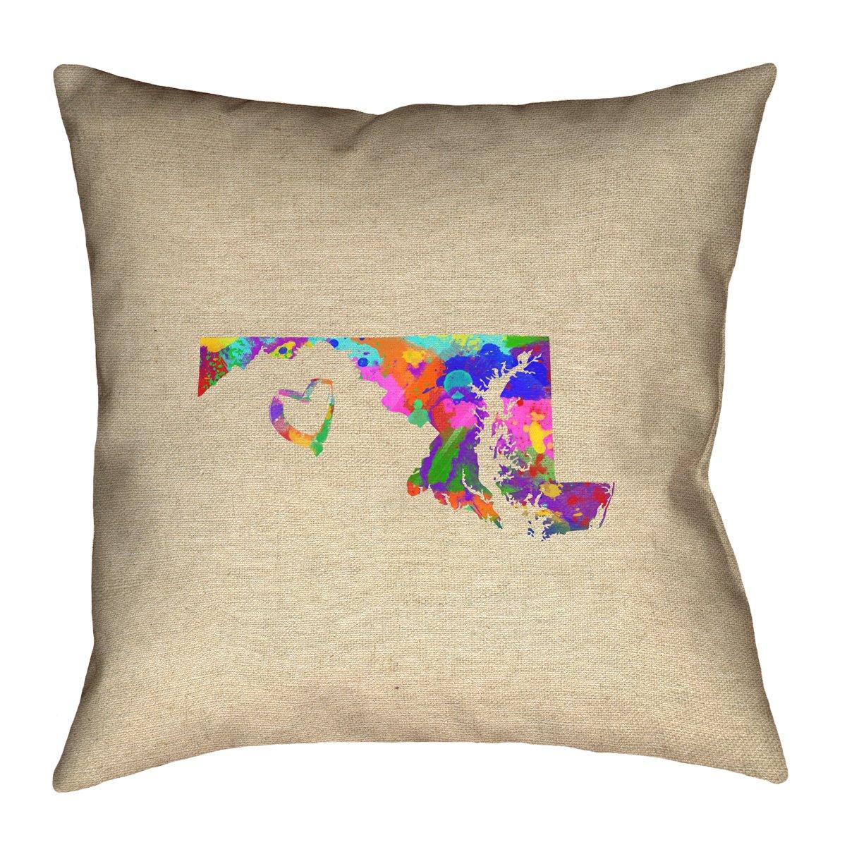 ArtVerse Katelyn Smith 26' x 26' Spun Polyester Maryland Love Watercolor Pillow