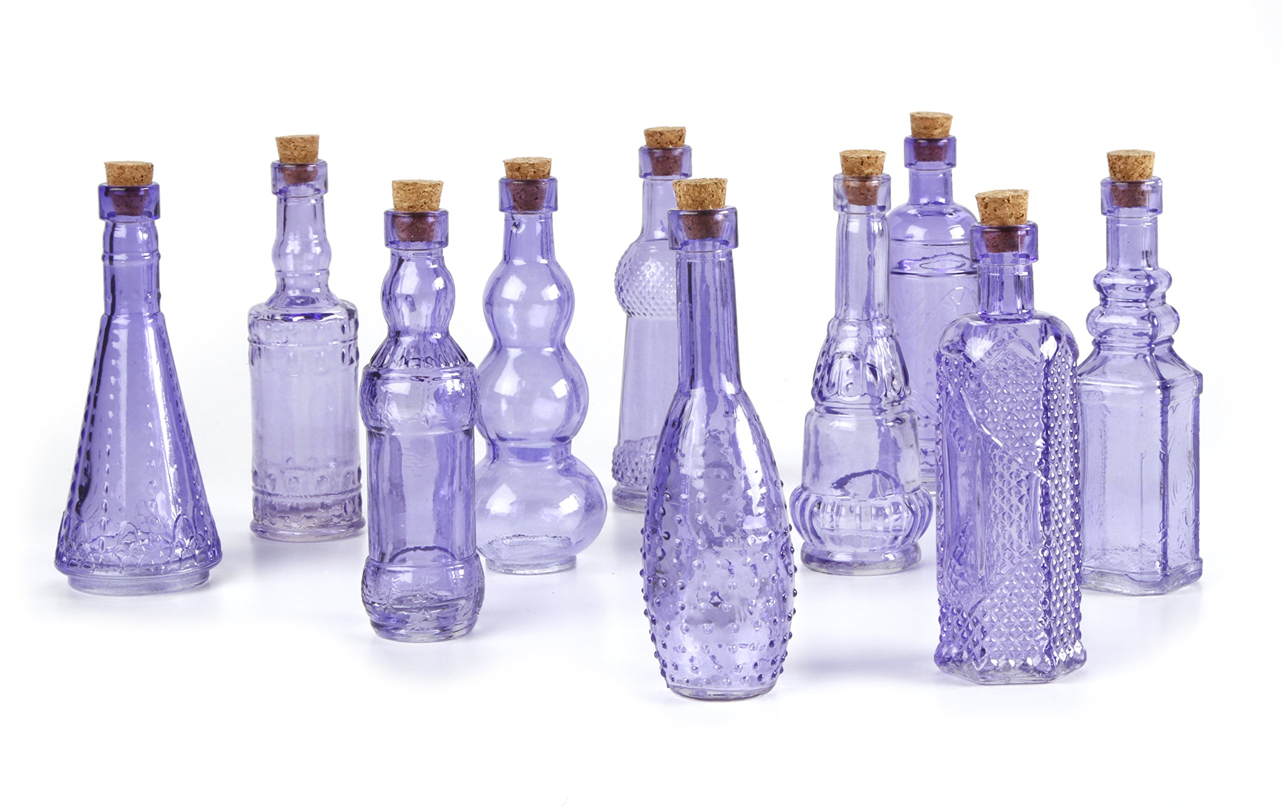 Darice 20140PURPLE Glass Bottles with Cork 5 INCHES 70 Assorted, Multicolor