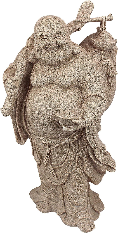 Design Toscano JQ3859 Wandering Happy Hotei Buddha Statue, Gothic Stone