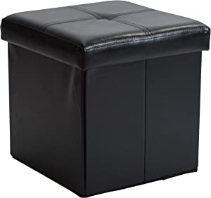 Simplify Kennedy Home Collection 30-Inch Faux Leather Folding Storage Ottoman, Black