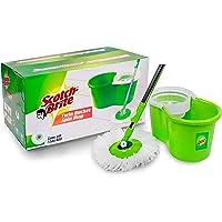 Scotch-Brite Twin Bucket Spin Plastic Mop (Green, 2 Refills)