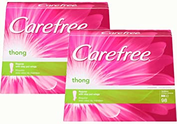 Carefree Thong Pantiliners with Wings, Regular Protection, Unscented, 98  Count, (Pack of 2)