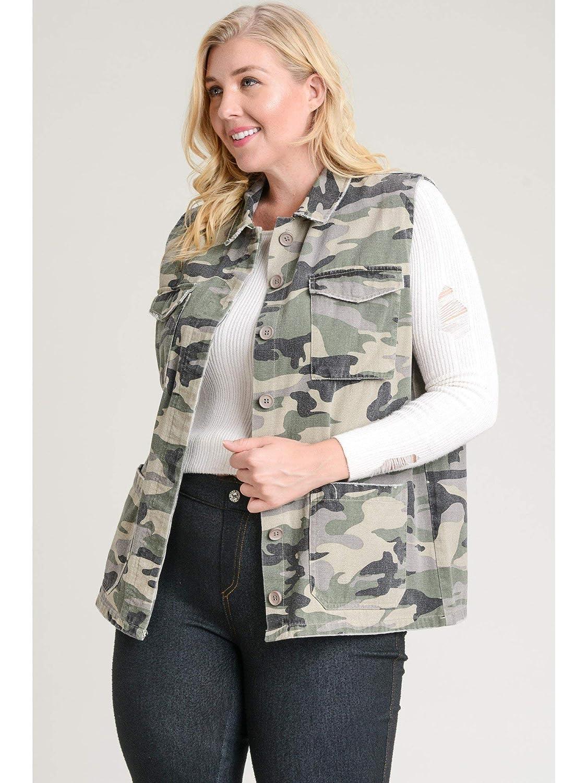 Jodifl Camo Vest-Plus Size