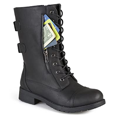 15ab6937682 Journee Collection Womens Buckle Pocket Lace-up Combat Boots Black