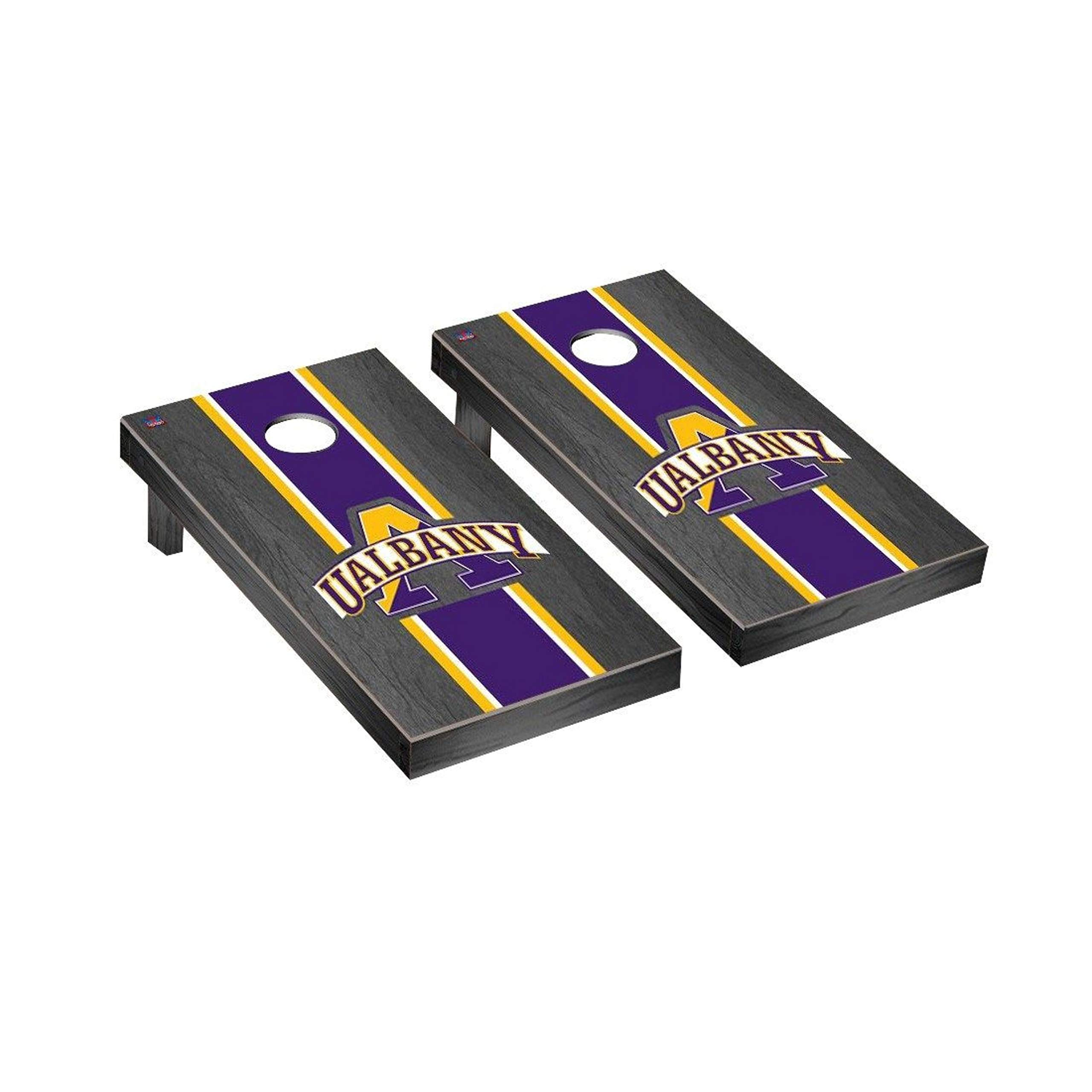 Victory Tailgate Regulation Collegiate NCAA Onyx Stained Stripe Series Cornhole Board Set - 2 Boards, 8 Bags - Albany Great Danes