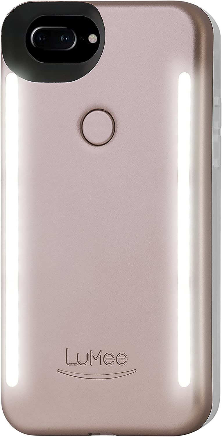 LuMee Duo Phone Case, Rose Matte | Front & Back LED Lighting, Variable Dimmer | Shock Absorption, Bumper Case, Selfie Phone Case | iPhone 8+ / iPhone 7+ / iPhone 6s+ / iPhone 6+