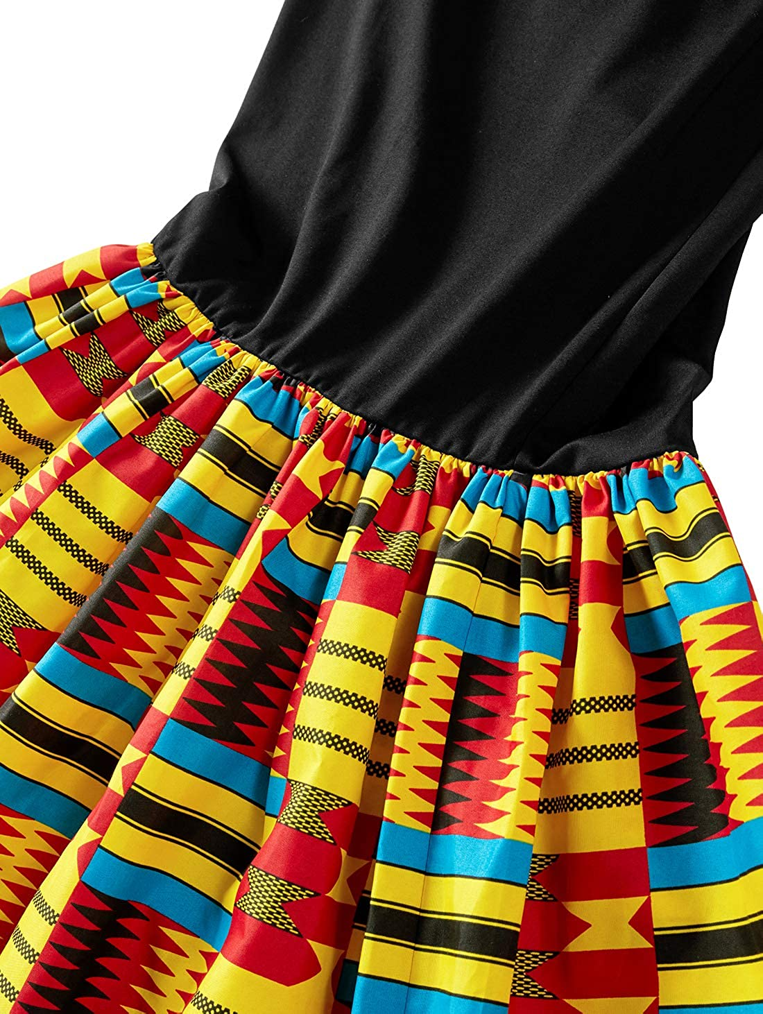 HongyuAmy Women African Print Dresses Kente Print Dresses