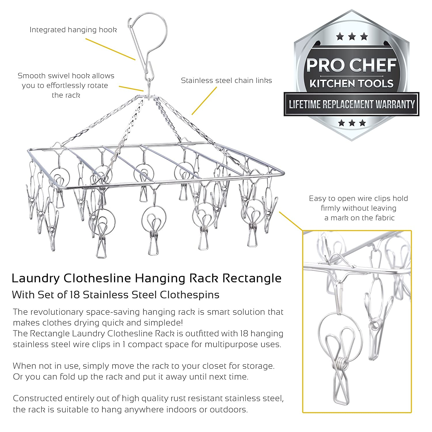 Pro Chef Kitchen Tools Clothes Drying Racks For Laundry Clothing Dryer Wiring Diagram Rectangle Rack Portable Clothesline Includes 18 Metal Clothespins Clips Set