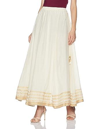 3838602e36 BIBA Women's Poly Cotton Skirt - Off-white -: Amazon.co.uk: Clothing