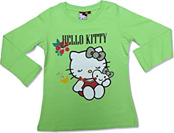 Hello Kitty Girls Yellow Green Long Sleeve T-Shirt -MCCCXIV-C