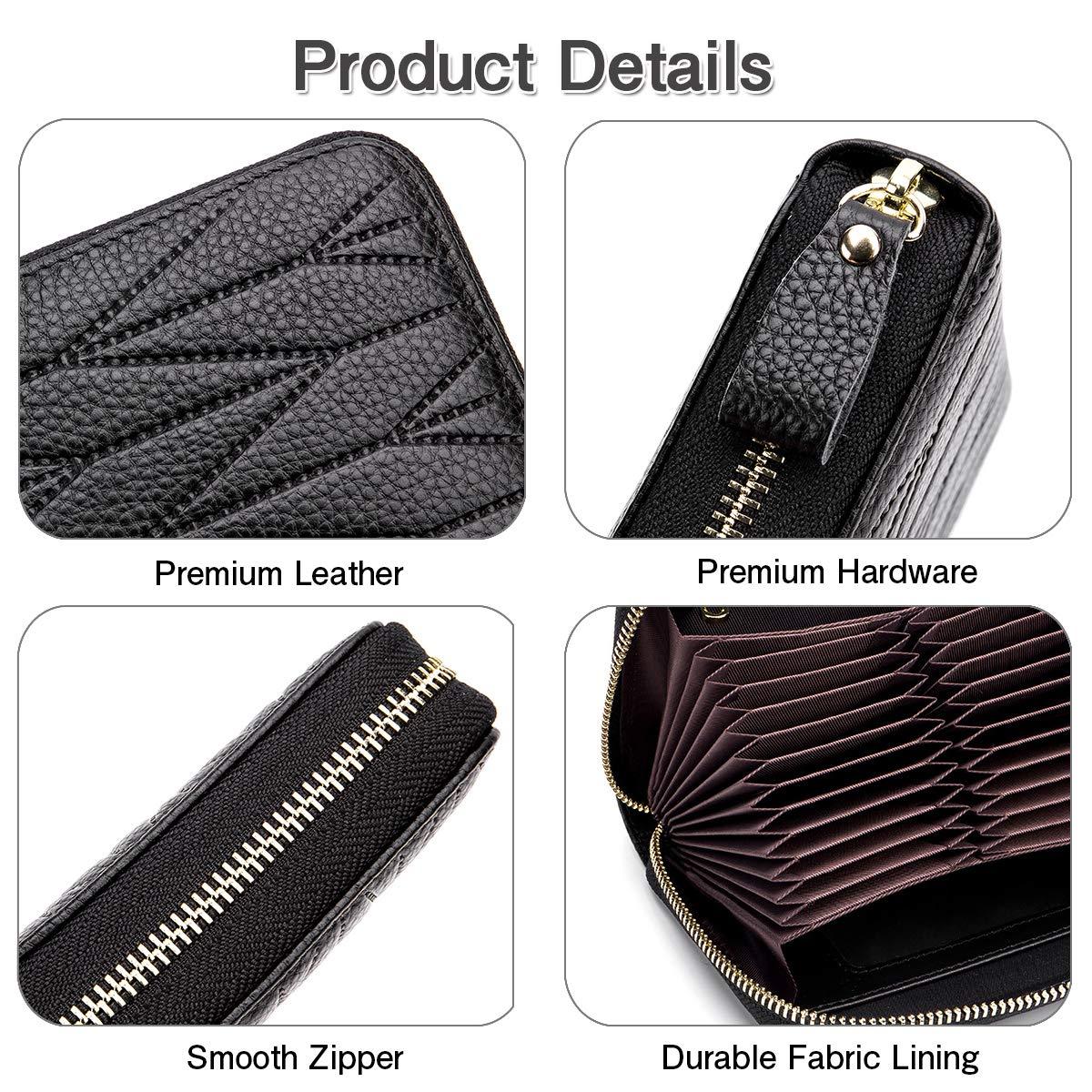 imeetu Women/men RFID Blocking Leather Credit Card Holder case Accordion Wallet 24 Slots Purses with Zipper Pocket(Wine Red) by imeetu (Image #5)