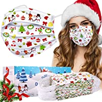 50-Pack Sudilo Adult Disposable Christmas Face Masks (White)