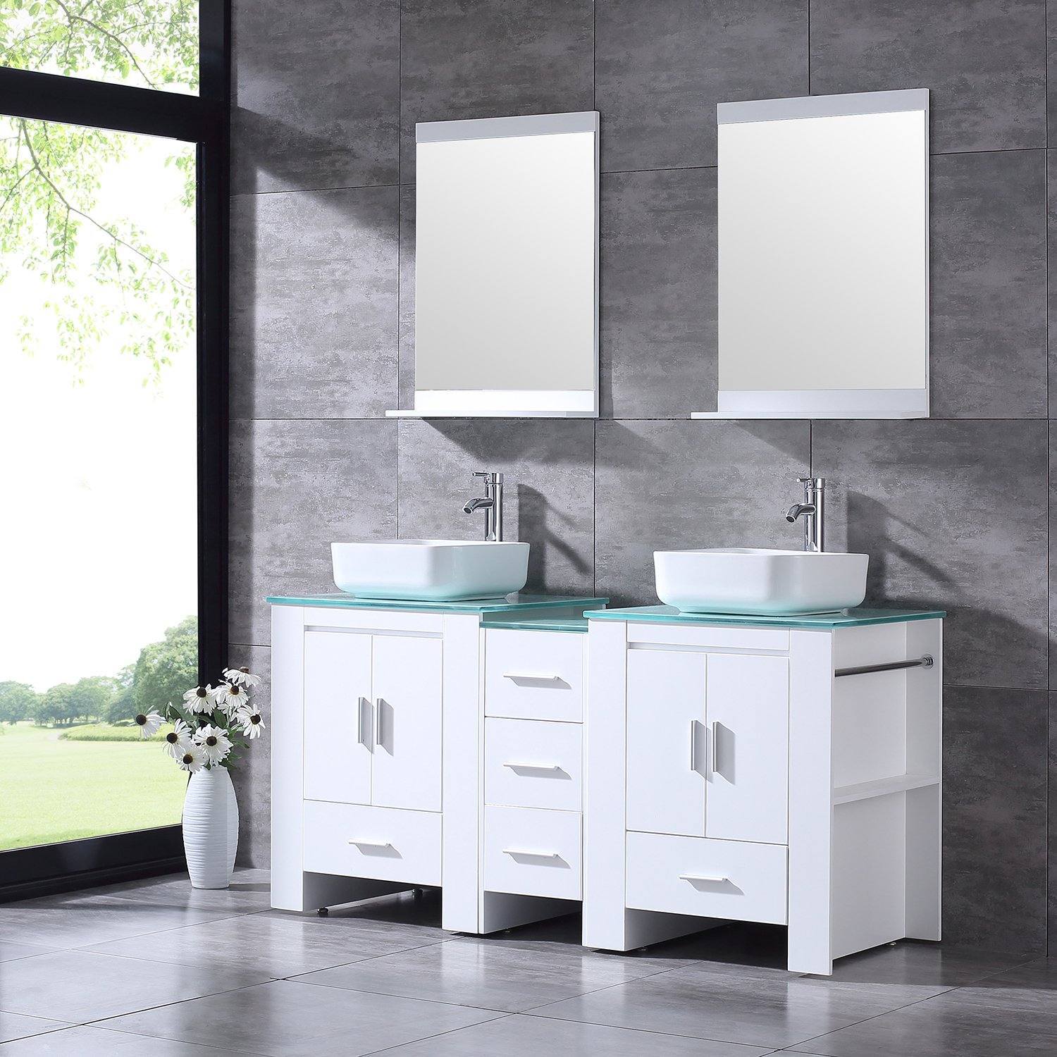 """BATHJOY Luxury 60"""" White Bathroom Double Wood Vanity Cabinet with Square Ceramic Vessel Sink and Mirrors Faucet Drain Combo by BATHJOY (Image #2)"""