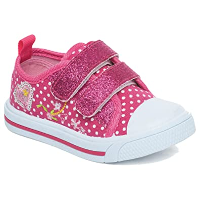 f435a77aef0d Girls Children Kids Canvas Toddlers Shoes Summer Pumps Casual Infants  Trainers Flat Low Top Velcro Touch Fastening Soft Lightweight Plimsolls  Boots Baby ...