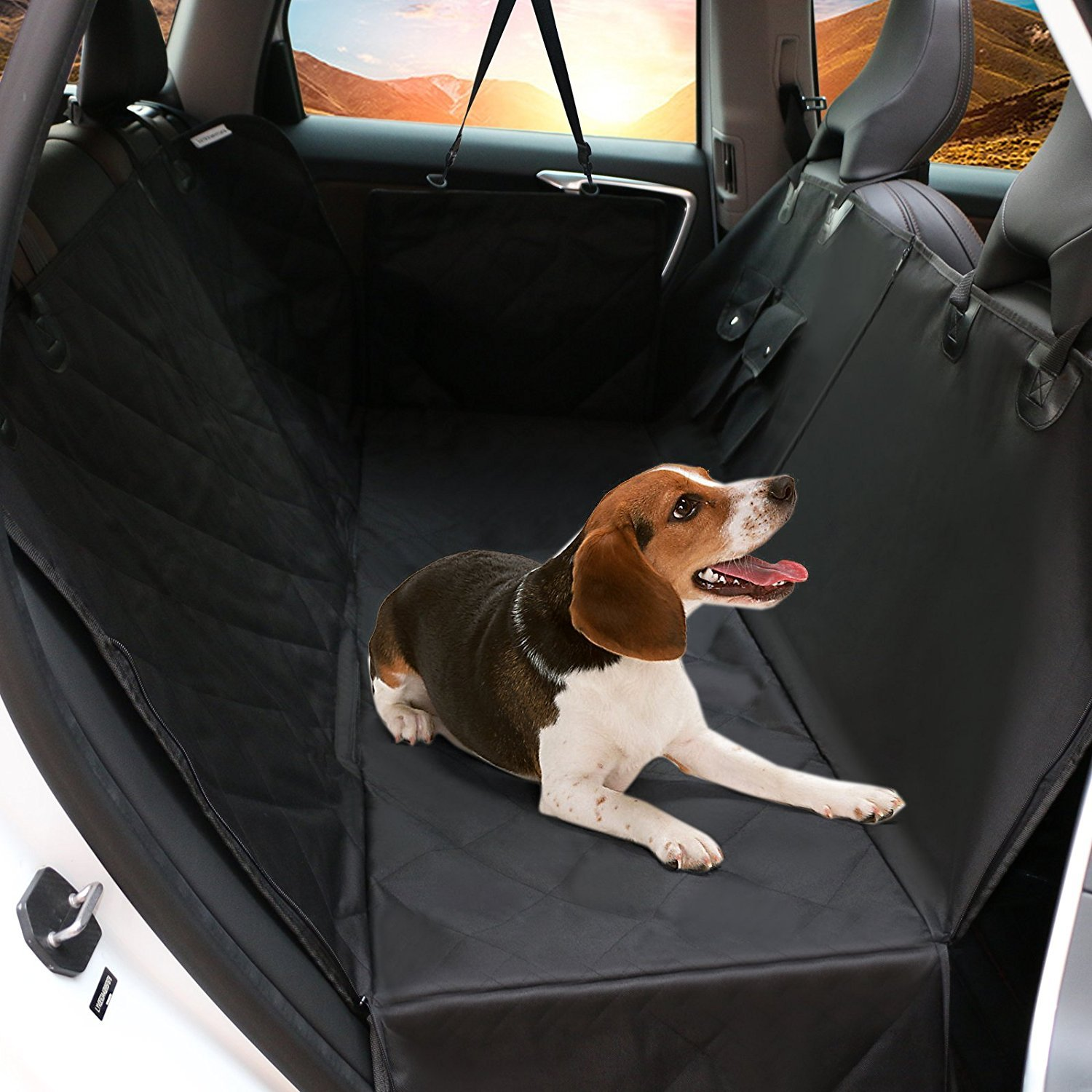 LEMESO Car Seat Cover for Dogs, 600D Scratch Proof Waterproof Pet Seat Covers with Pet Seat Belt, Side Flaps, Nonslip Backing for Cars SUV Truck