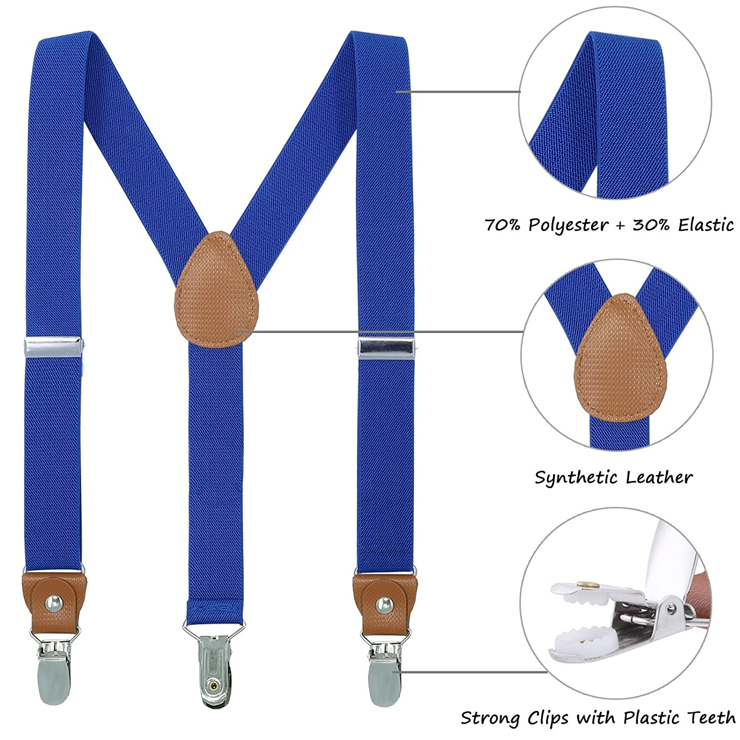 Toddler Boys Mens Elastic Suspenders 8 Years - 5 Feet Tall Purple, 31.5-33.5 Inch Y Back Adjustable Strong Clip Synthetic Suspenders