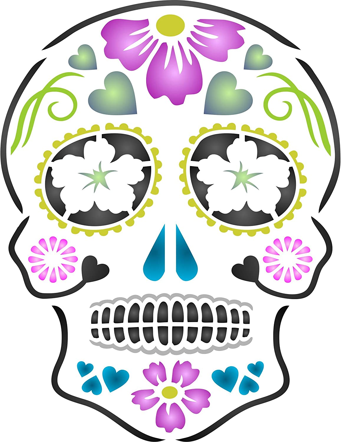 Amazon Com Day Of The Dead Sugar Skull Stencil 5 X 6 5 Inch S Halloween Decor Stencils For Painting Template