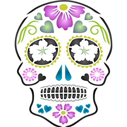 amazon com day of the dead sugar skull stencil size 5 w x 6 5 h