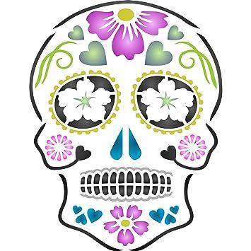 Day of the Dead Sugar Skull Stencil - (size 5u201dw x 6.5u201dh  sc 1 st  Amazon.com & Amazon.com: Day of the Dead Sugar Skull Stencil - (size 5
