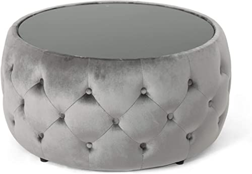 Christopher Knight Home Chana Glam Velvet and Tempered Glass Coffee Table Ottoman