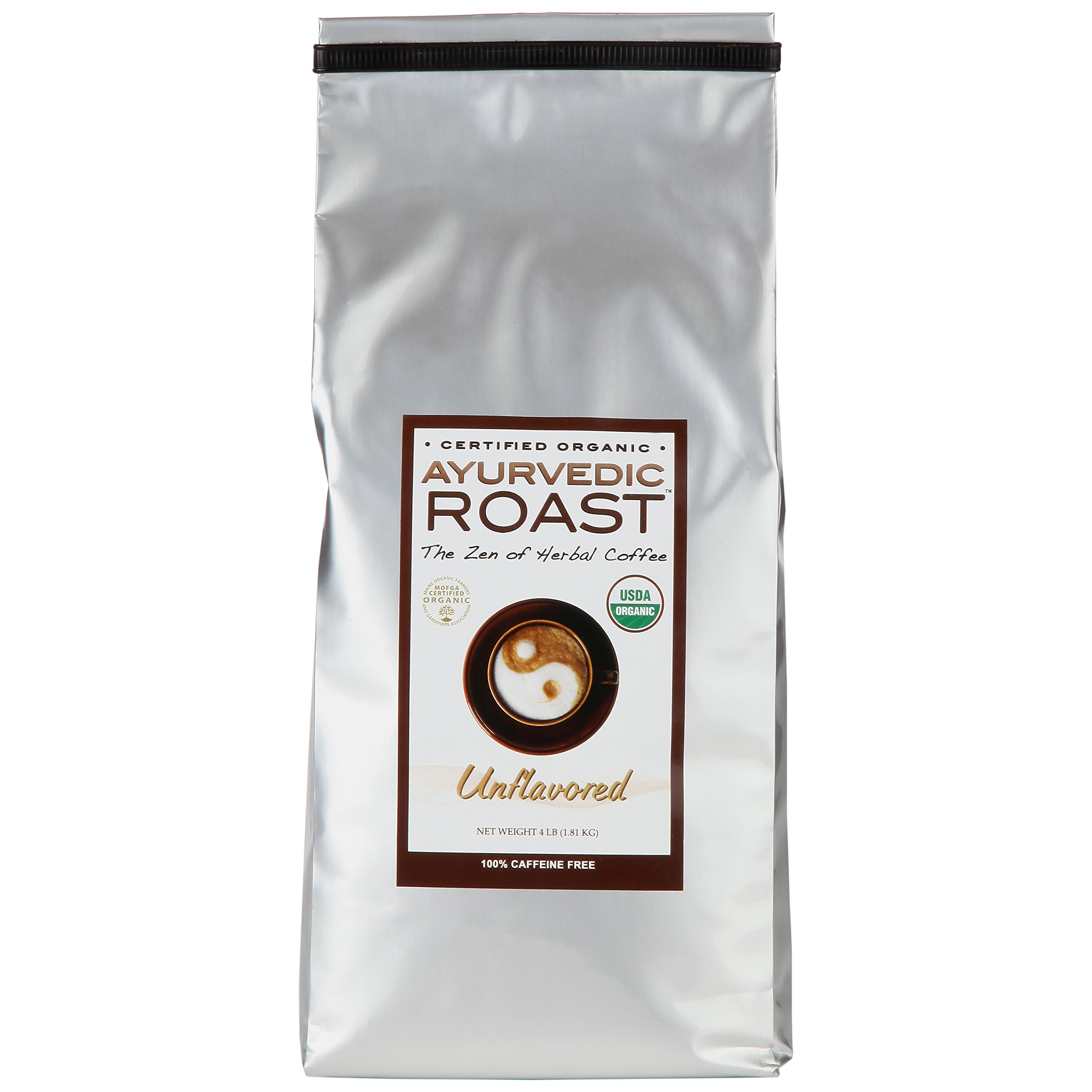 Organic Caffeine-free Coffee Substitute By Ayurvedic Roast - GMO free, Vegan Herbal Coffee - Unflavored 4lb