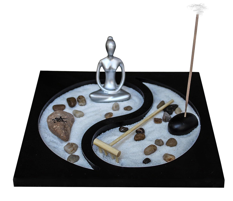 Zen Garden Deluxe Desk Meditation Garden Yin Yang Base with Silver Statue, Sand, Rocks, Rake, Incense and Incense Burner - Peace & Tranquility