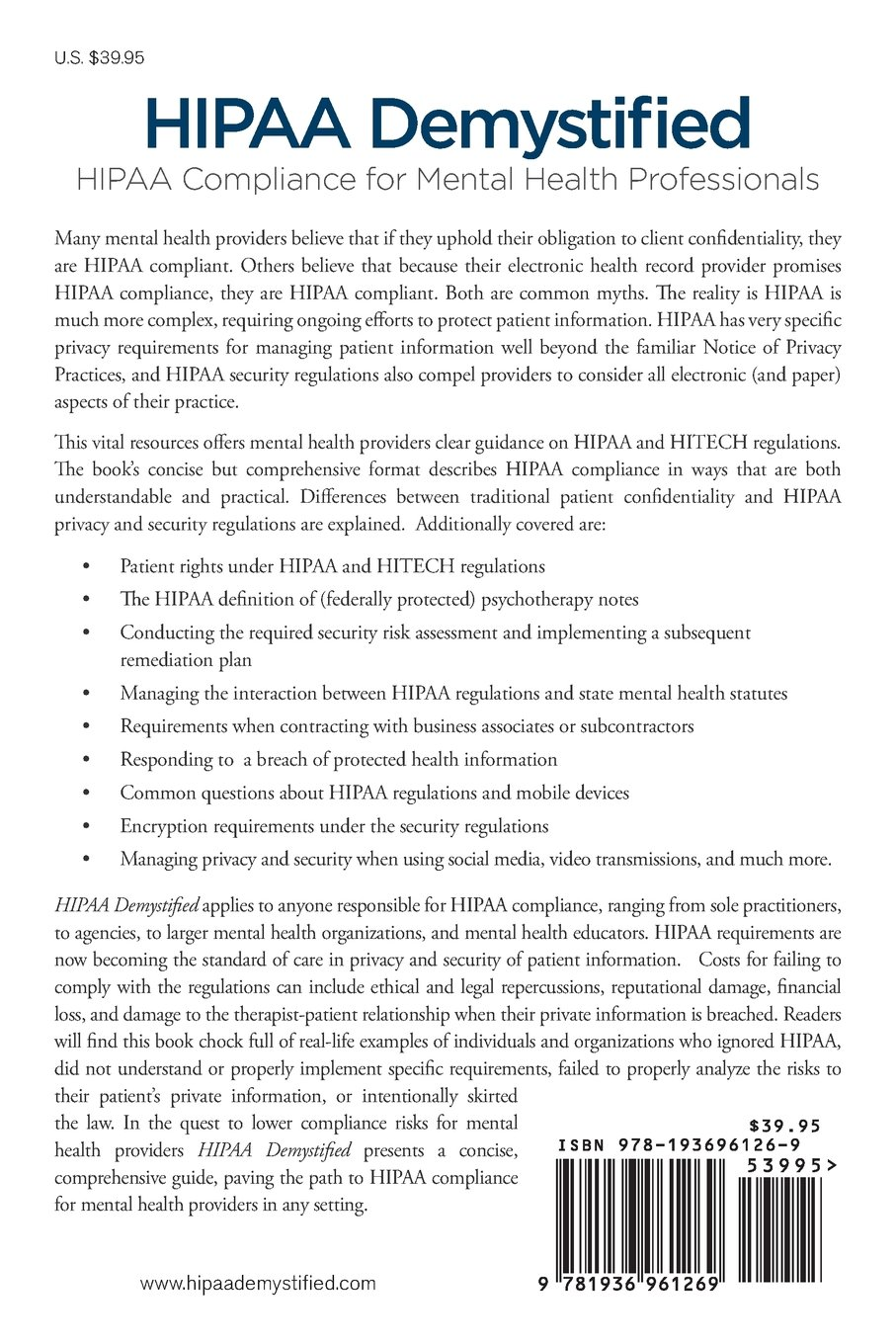 HIPAA Demystified: HIPAA Compliance for Mental Health ...