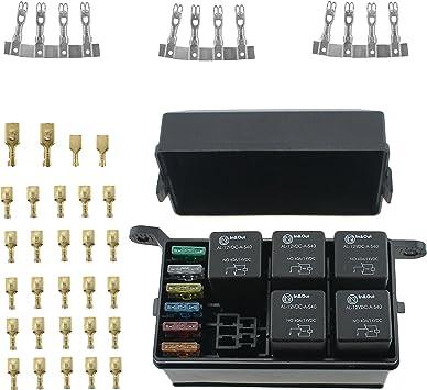 Amazon.com: IZTOSS 12-Slot Relay Box 6 Relays 6 Blade Fuses - Fuse Relay Box  with fuse and 4pins 12V 40A relay for Automotive Marine and boat: AutomotiveAmazon.com
