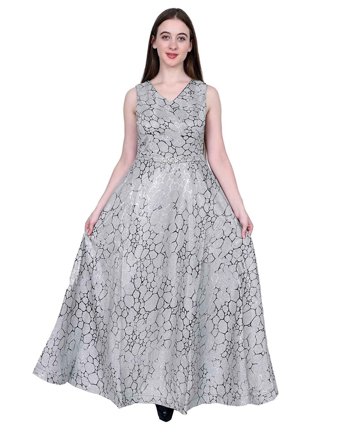 great fit save up to 80% exclusive deals Buy Gorgeous Girl's Only Silver Imported Fabric Sleeveless Gown ...