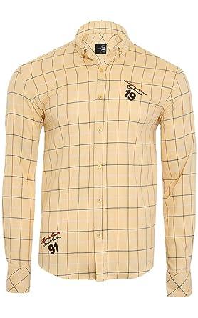 cfcd93525609b4 Tazzio Fashion Hemd Herren Langarm Hemd Slim Fit Jersey Gelb  Amazon.de   Bekleidung
