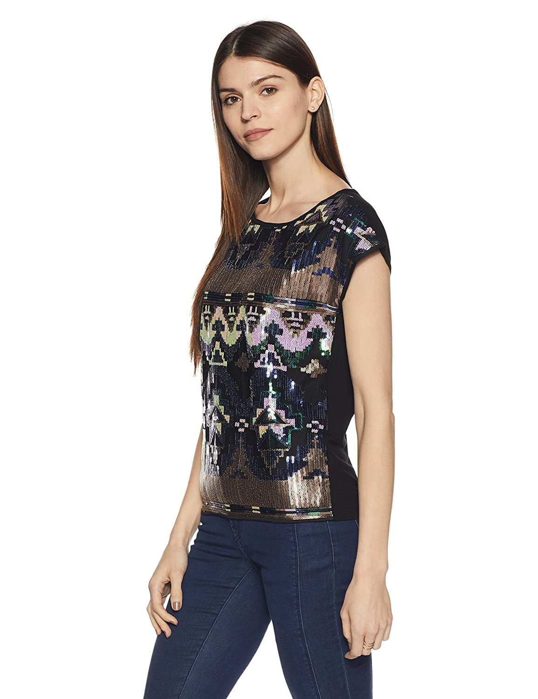 Vero Moda Vmbeavo S/L Top NFS, Camiseta para Mujer, Negro (Schwarz), 42 (Talla del Fabricante: L)