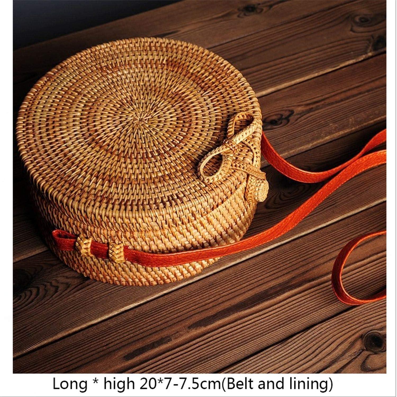 Summer Bali Hand-Woven Rattan Bag Embroidery Shoulder Crossbody Beach Straw Bohemian Knitting Circular