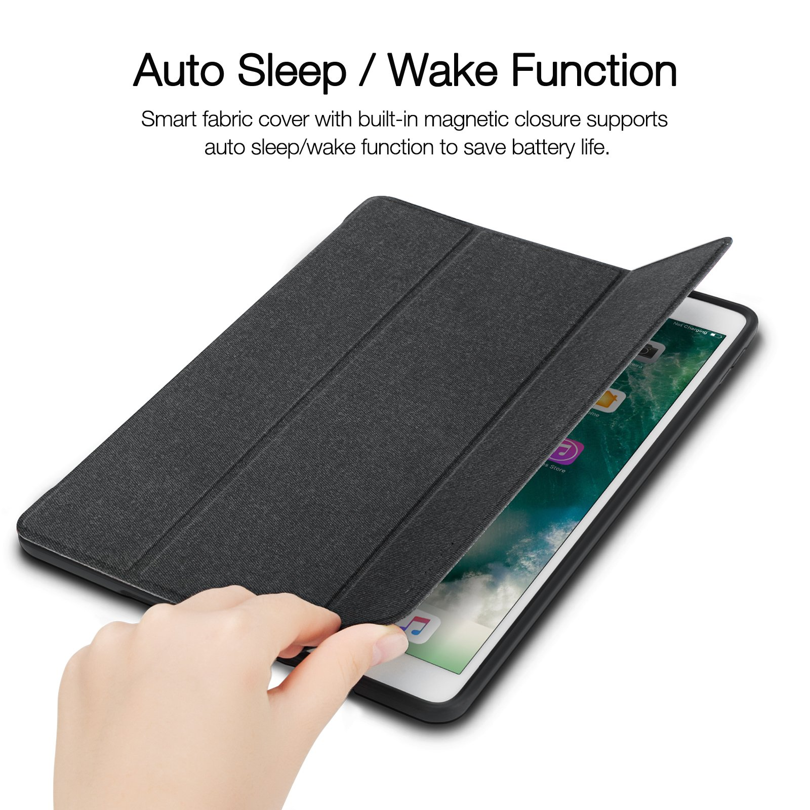 iVAPO iPad Pro 10.5 Case Pencil Holder Auto Sleep Wake Function Typing Viewing Tri-fold Stand PU Leather Smart Cover for iPad Pro 10.5 inch 2017 Black Denim Leather by iVAPO (Image #3)