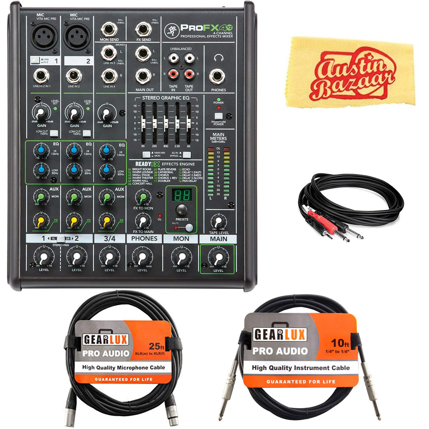 Mackie ProFX4v2 4-Channel Professional Effects Mixer Bundle with XLR Cable, Instrument Cable, Stereo Breakout Cable, and Austin Bazaar Polishing Cloth