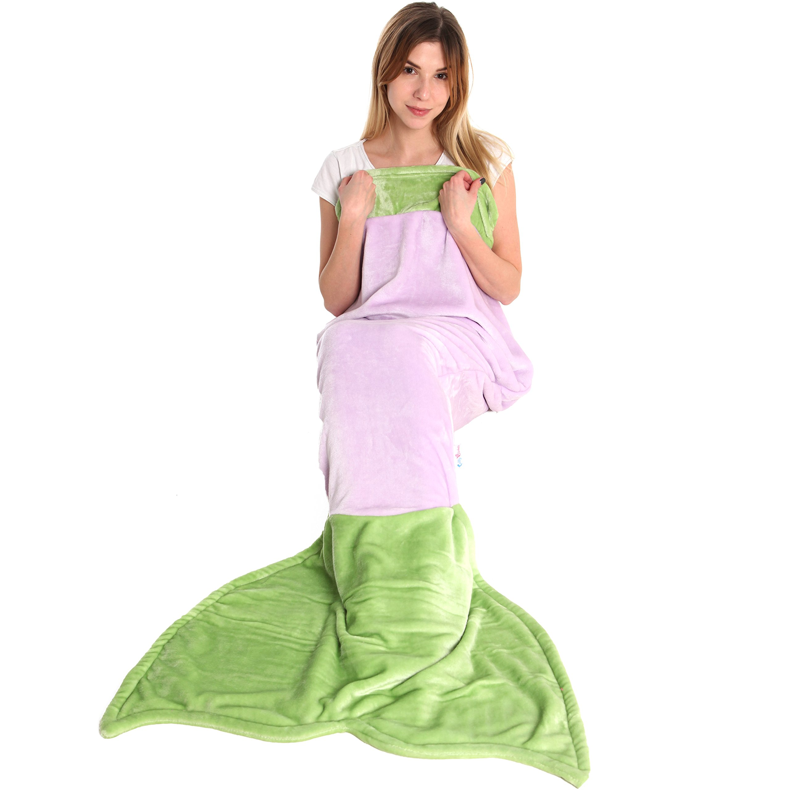 Cuddly Blankets Mermaid Tail Blanket for Adult Women - Super Soft & Warm Minky Fleece Fabric Blanket By Great Birthday and Last Minute Gift for Big Girls, Large Size