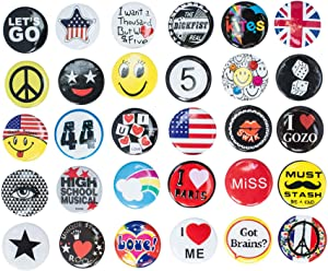 R.B.Y. Special100% Huge Wholesale Set of 30 New Pins/Buttons/Badges 80's Buttons pins Slogans Sayings pin,Lapel pin for Clothes/Bags/Backpack/Hats/Jeans and More.