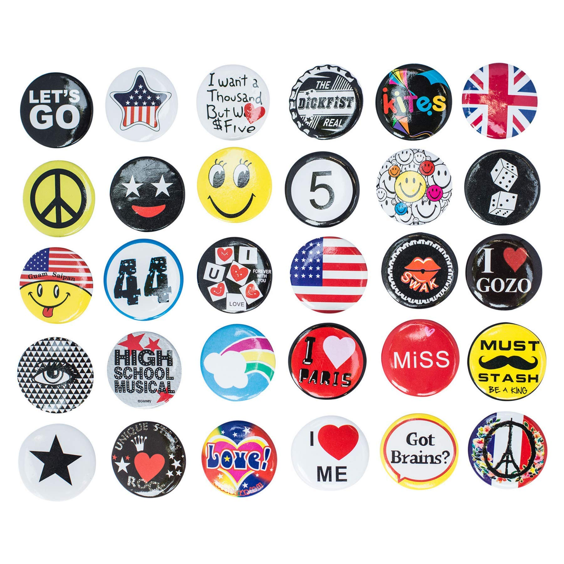 Special100% Huge Wholesale Set of 30 New Pins/Buttons/Badges 80's Buttons pins Slogans Sayings pin,Lapel pin for Clothes/Bags/Backpack/Hats/Jeans and More. by Special100%